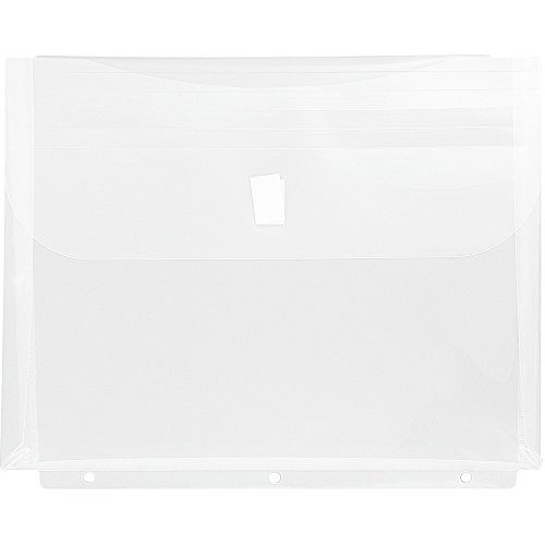 JAM Paper Plastic Binder Envelopes with Hook and Loop Closure & 3 Hole Punch - 1
