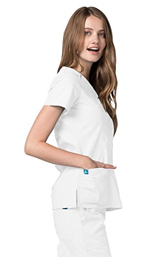 Adar Universal Scrubs for Women - Double Stitched Mock Wrap Scrub Top
