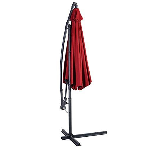 Giantex 10' Hanging Umbrella Patio Sun Shade Offset Outdoor Market W/t Cross Base (Burgundy)