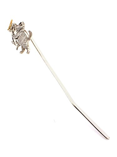 Silver Handmade Bookmark ''Cat with Butterfly'' by Sribnyk - Gallery of Silver Art