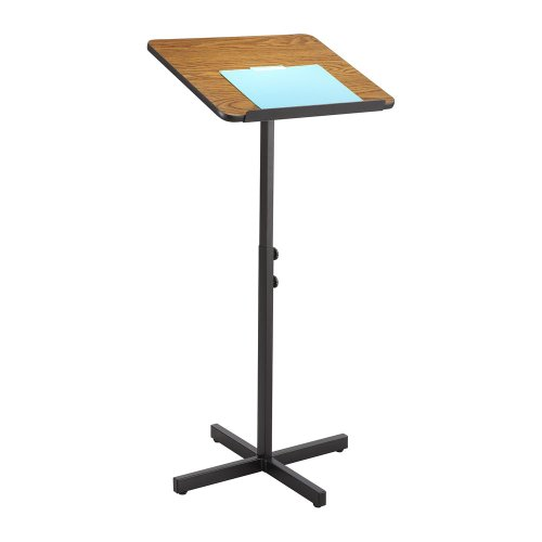 Stand Lectern Speaker (Adjustable Speaker Stand, 21w x 21d x 30h to 46h, Medium Oak/Black)