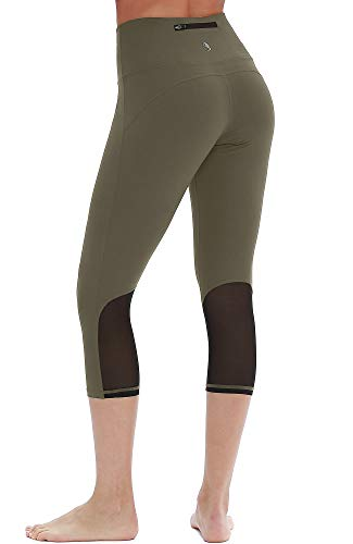 icyzone Yoga Pants for Women - High Waisted Workout Leggings, Activewear Athletic Capris Exercise Tights (S, Olive) ()