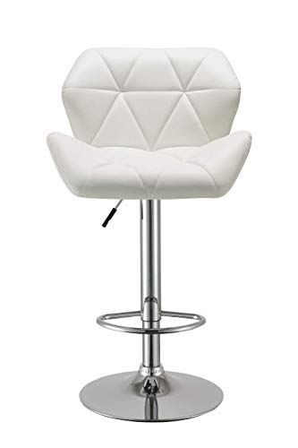 Duhome Bar Stools Set of 2, Modern Bar Stool with Back White Synthetic Leather Swivel Kitchen Pub Stool