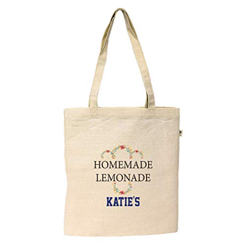 Text Homemade Lemonade Hemp/Cotton Canvas Flat Market Bag ()