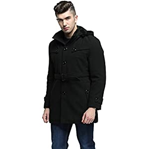 fashciaga Men's Hooded Single Breasted Woolen Pea Coat Black XX-large