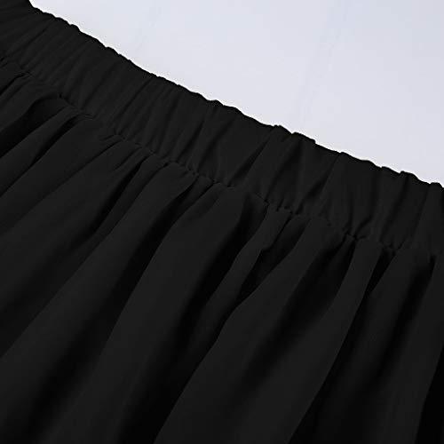 Soie Dress Boheme Mariage Sunnywill Mousseline En Tour De Elastique Casual Plage Jupe Femme Noir Taille kiPZTuOX