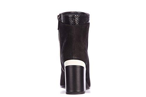 Hogan demi bottes femme à talon en daim tronchetti zip interna h238 noir