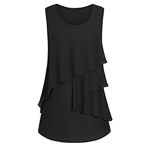 Sterling Beer Silver (FarJing Clearance sale Women Plus Size Ruffles Hem Ruched Sleeveless Tank Tops Pullover T-Shirt Blouse (M,Black))