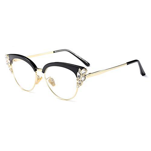 Women Cat Eye Rhinestone Glasses Metal Frame Luxury Eyeglasses Female Fashion ()