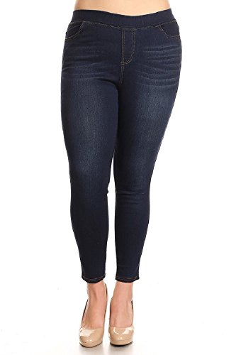 - Women's High Waist Slimming Stretchy Pull-On Skinny Denim Jeans (1X-Plus, Dark Denim-69)