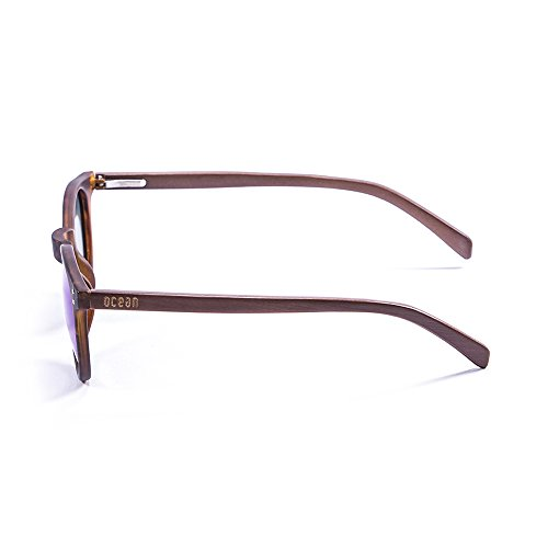 Ocean Sunglasses Lizard Lunettes de soleil Demy Brown Frame/Wood Dark Arms/Revo Blue Lens