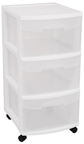 Sterilite Storage Drawers (Sterilite 28308002 3 Drawer Cart, White Frame with Clear Drawers and Black Casters, 2-Pack)