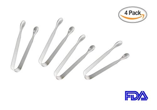 Sugar Tongs for Tea Party Food Folder and Ice Clip Kitchen Tongs(4 Pack),Heavy Duty,Premium 304 Stainless Steel Mini Ice Tongs Silver,Coffee Bar, Appetizer Tongs,4.5""