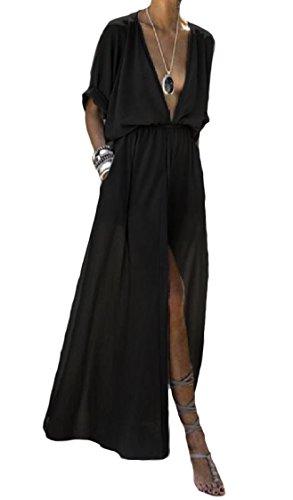 Coolred-femmes Manches Courtes Fendu Loisirs Taille Smockée Profonde V-cou Noir Robe Longue
