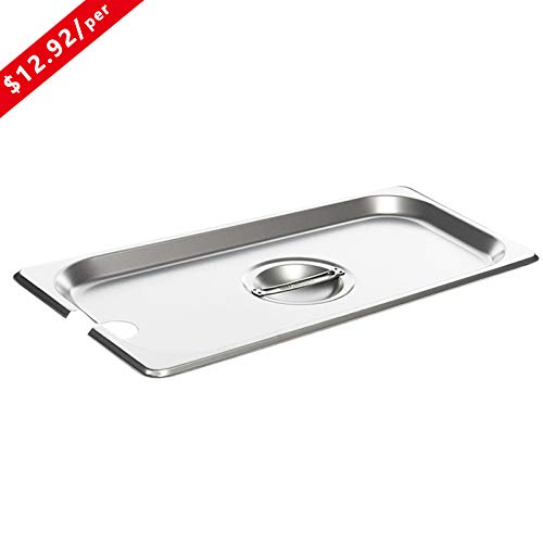 (Full Size Stainless Steel Slotted Steam Table Pan Cover, Kitma 1/1 Size Pan Lids, Non-Stick Surface, Solid Lid for Full Size Steam Pans with Handle - 12 Pack )