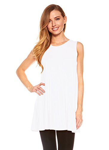 Womens Sleeveless A-Line Tank Top Tunic, Solid Basic Long Flowy Top (White-M)