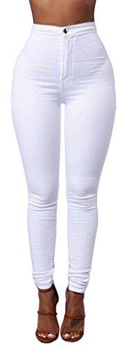 Matita Yeesea Pantaloni Alta Lunghi Elastico Leggings Jeans Donna Skinny Blanc Pants Vita A vqawZTp