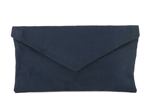 Navy Faux Suede Clutch Bag - 2