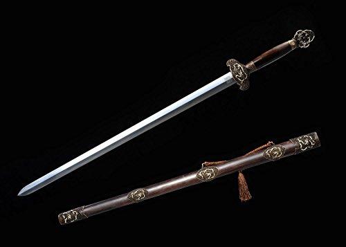 - Chinese Sword,Retro Dragon Sword(Pattern-Welded Steel Blade,Ebony Scabbard,Copper Fittings) Length 39