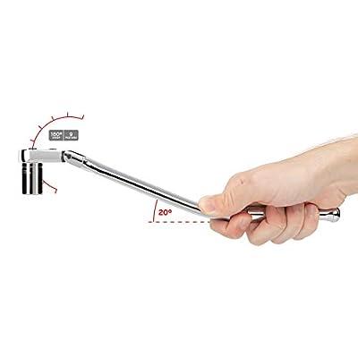 TEKTON 3/8 Inch Drive x 12 Inch Flex Head Quick-Release Bent Handle Ratchet | SRH33112