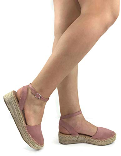 Womens Ankle Wrap Espadrille Platform Sandal, Dk Mauve, 10