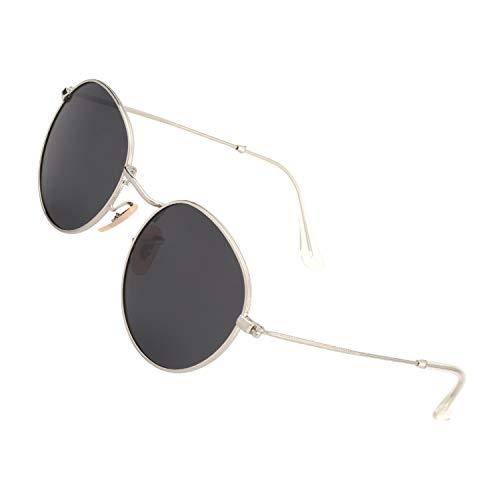 49mm Argenté soleil et Métal protection MEZ1 UV400 de Gris classiques avec Lunettes pour Lennon polarisées GQUEEN Homme Rétro Femme Ronde Unisexe Cadre Vintage Sq1Rwn
