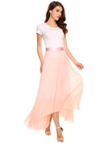 Zeagoo Womens Vintage Maxi Skirt Double Chiffon Skirts With High-low Hem, color Pink, Size Medium