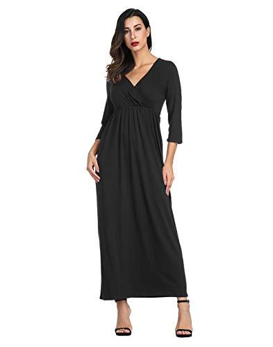 Caroline Dress Dresses Solid - Akivide Women's 3/4 Sleeve Wraped Ruched V-Neck Maxi Dress Black S