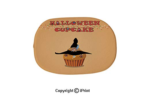 Colorful Bathtub Mat,Non-Slip Big Drain Hole with Suction Cups Extra Soft,Cute Happy Halloween Cupcake with Witch hat and Monster Eyes on,19.7