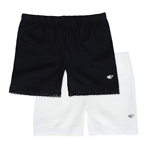 Lucky & Me Leah Girls Shorts Underwear, 2-Pack Underpants for Skirts, Uniforms, Dresses, 4/5 Black/White ()