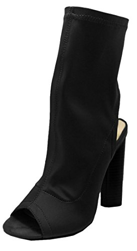 Wild Diva Women's Stretchy Cutout Stacked Chunky Heel Peep Toe Boot (6 B(M) US, Black)