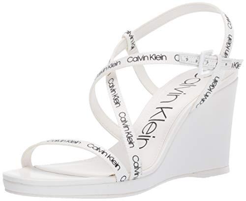 Calvin Klein Women's BELLEMINE Wedge Sandal, White Logo Webbing, 5 M US