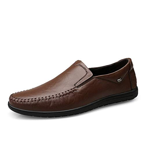 Marron Foncé 43 EU MXLTiandao Chaussures de Conduite pour Hommes en Cuir véritable Robe de Travail de Mariage Rencontre des Mocassins de Mode Anti-Slip Slip Slip-on Mocassins (Couleur   Marron foncé, Taille   43 EU)