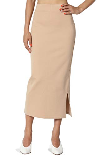 TheMogan Women's Side Slit Ponte Knit High Waist Mid-Calf Pencil Skirt Taupe L