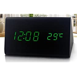 Mini Modern Triangle LED Wood Style Grain Thermometer Touch Sound Activated Desk Digital Alarm Clock (Black case Green light)