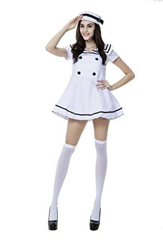 Day Of The Dead Pin Up Costume (Honeystore Women's Adult Sailor Nautical Doll Halloween Costume White Style 2)