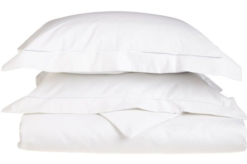 800 Thread Count, 100% Egyptian Cotton, Single Ply Duvet Cover Set, Full/Queen, White with White Embroidery