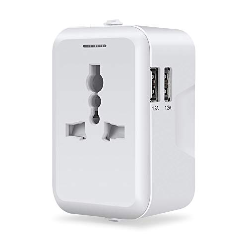 Travel Adapter, Furado Travel Power Adapter, Worldwide All in One Universal Travel Adapter, AC Plug Adapter with Dual USB Charging Ports, AUS Asia Japan Europe UK USA International USB Travel Adapter ()