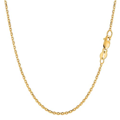 "14K Yellow or White Gold 1.5mm Shiny Diamond Cut Cable Link Chain Necklace for Pendants and Charms with Lobster-Claw Clasp (16"", 18"", 20"", 22"", 24"" or 30 inch)"