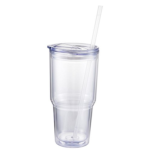 Jearey Insulated Tumblers Acrylic Travel Tumbler Double Wall Plastic Cups with Lids and Straws BPA Free (Clear, 24oz Tumbler) (With Plastic Tumblers Lids)