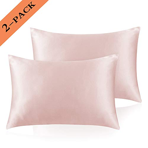 Ravmix 2-Pack Satin Pillowcases King Size Silky Soft Hypoallergenic Anti-Wrinkle Pillow Covers for Hair and Skin with Envelope Closure, Machine Washable, 20''x36'', Pink (Pink Pillowcase Satin King)