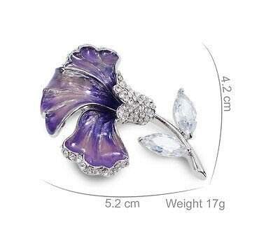 FidgetGear X909 Clear Austrain Crystal Purple Paint 18K WGP Alloy Flower Brooch Pin