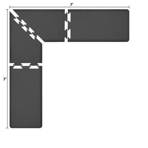 WellnessMatsパズルピースコレクション2足Wide Lシリーズブラック抗疲労7 x 7足マット   B005EV97UE