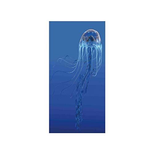 (3D Decorative Film Privacy Window Film No Glue,Jellyfish,Blue Spotted Jelly Fish Aquarium Life Marine Animals Ocean Predator in The Deep Water,Blue,for Home&Office )