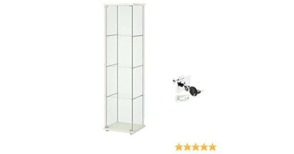 Amazon.com: Ikea Detolf Glass Curio Display Cabinet White, Lockable, Lock Is Included: Kitchen & Dining