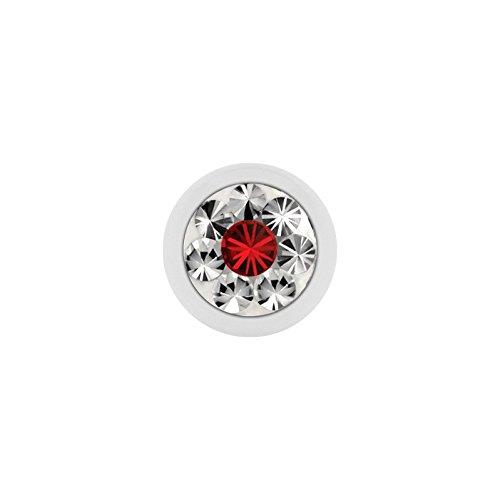 Acier–Boule à visser–blanc–epoxyk ristall–Supernova Concept–(LS) (Light Siam Piercing Embout Boule à visser pour fer à cheval, baguettes, labrets, etc.)