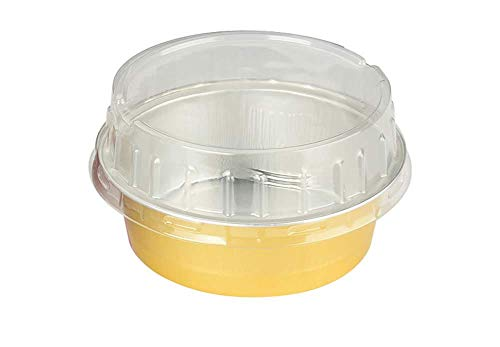 Coloured Foil - KitchenDance Disposable Aluminum Colored 5 Ounce Baking Cups #A41- Pack of 100 (Gold, with Stackable Lid)