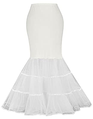 GRACE KARIN Women's Mermaid Fishtail Crinoline Petticoat Floor Length Wedding Underskirt