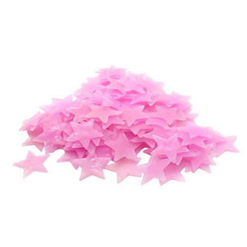 Fang-Ling Environmentally Friendly Wallpaper,50 PCS Fluorescent Glow in The Dark Stars Wall Stickers for Kids Bedroom,Wall,Doors,Lamps,Household Articles,Bedroom (Pink)