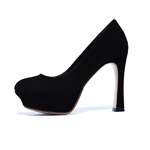 Amoonyfashion Dames Ronde-teen Gesloten-teen Spikes-stiletto Pumps-schoenen Met Platform Zwart
